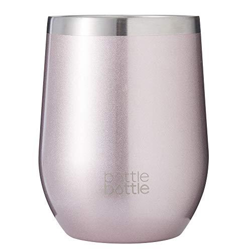 flessenfles 12oz RVS koffiebeker Wijn Tumblers, Dubbele muur Geïsoleerde Reizen Koffie Mok Glazen Beker met Sipping Deksel voor Hete en Koude Drank 355ml Golden Pink