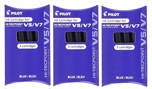 Pilot BXC-V5 / V7 Azul Relleno Repuesto Repuesto Cartuchos De Tinta Para Hi-Tecpoint V5 & V7 Cartucho Sistema Pluma De Rollerball Rellenable Tinta Líquida (Paquete De 3 - 9 cartuchos)