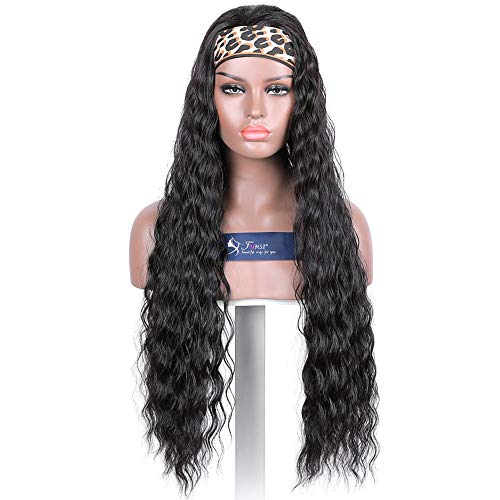 FUHSI 30Inch Headband Wig Natural Black For Women Non Lace Front Wig Long Wavy Glueless FUTURA Fiber Synthetic Wig Black Women–2# Color