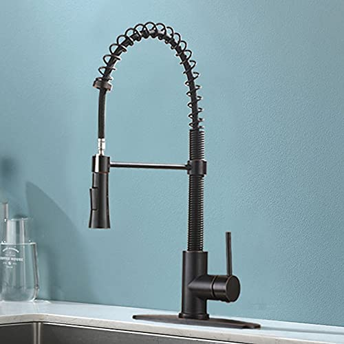 KINGO HOME Antique Black Lead Free Stainless Steel Single Lever Handle Pull Down Sprayer Black Kitchen Faucet