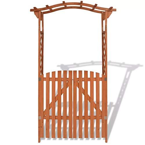 CFG Arco de jardín de madera maciza con puerta 120x60x205cm Plantas Escaladas Pérgola Arbour Planta Cama