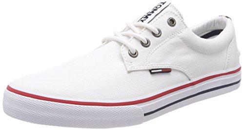 Tommy Hilfiger Herren Textile Sneaker, Weiß (100 /WHITE), 43 EU