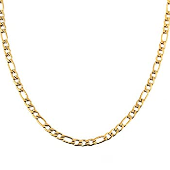HZMAN Men Women 24k Real Gold Plated Figaro Chain Stainless Steel Necklace Wide 5mm 7mm 9mm 13mm