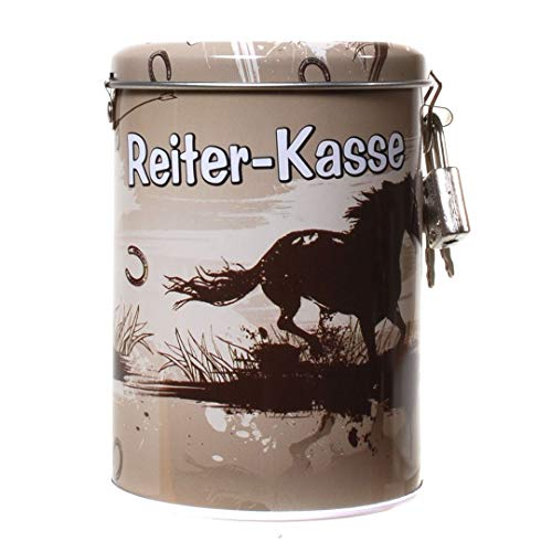 Unbekannt Spardose Reiter-Kasse aus Metall, mit Pferde-Motiv