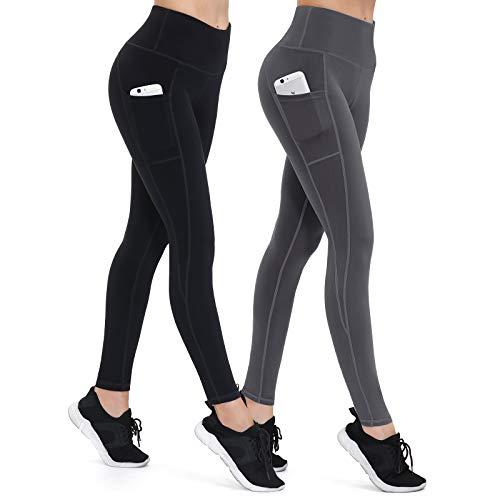 ALONG FIT Damen 2er Pack Leggings High Waist Blickdichte Sporthose mit Taschen Hohe Taille Lange Yogahose für Fitness Sport Schwarz Grau S