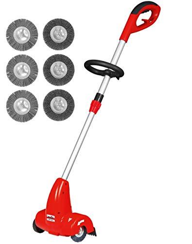Grizzly Tools Elektro Fugenbürste elektrischer Fugenreiniger Moosentferner Steinreiniger mit teleskopierbarem Führungsholm umweltfreundliche Unkrautentfernung Set mit 6 Bürsten