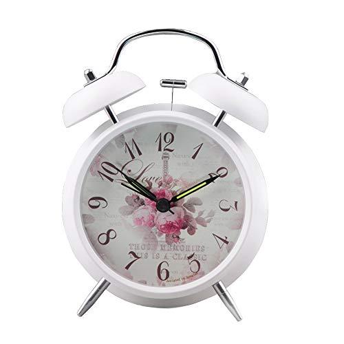 Venkaite Lautlos Elektronischer Wecker mini Nostalgischer Metall Doppelglocke Alarm Glockenwecker Englisch Blumen Muster
