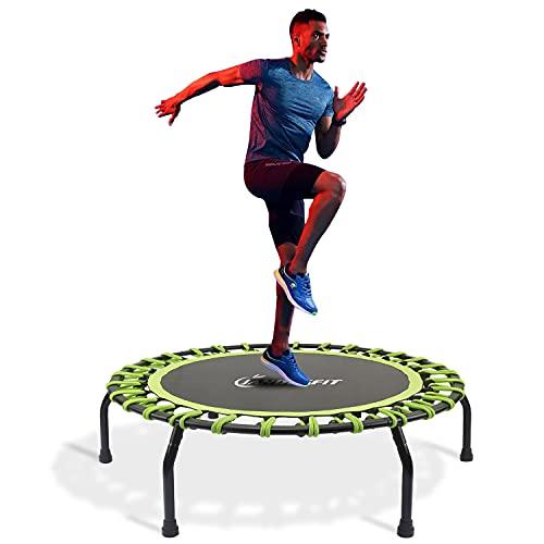 Jandecfit Mini Trampolino Fitness Silenzioso da 101,6 cm Per Fitness al Chiuso, Sistema di Design a Corda Elastica Per Allenamento Aerobico, Portata Massima 150 kg