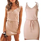W-Fight 2019 Summer Women V Neck Lace-Up Strap Backless Sleeveless Casual Mini Wrap Dress Pink by W-FIGHT