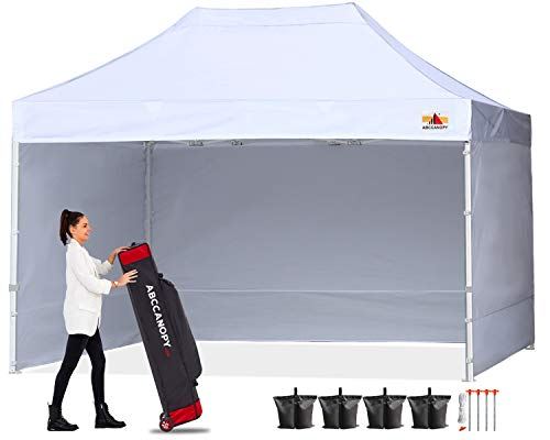 ABCCANOPY Canopy 10x15 Pop Up Commercial Canopy Tent with Side Walls Instant Shade, Bonus Upgrade Roller Bag, 4 Weight Bags, Stakes and Ropes,White
