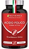 Vitamina B9 Nutrimea | Acido Folico In Forma Attiva Con Assimilazione Superiore | Integratore Per Donne In Gravidanza | Aiuta a Concepire | Riduce l'affaticamento | 120 Capsule Vegane