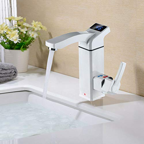Elektrische Warmwasserbereiter,LED Temperaturanzeige Elektrische Wasserhahn Heizung,3000W Bad Küche Elektrisch Schnell Warm Wasserhahn Armatur Heizung 220V EU