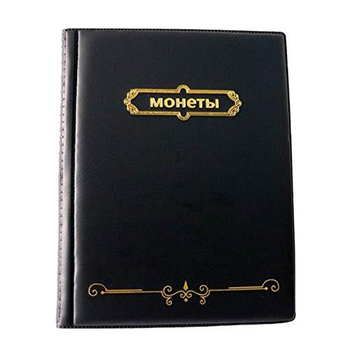 JWWLLT Álbum de Cuero para Monedas Libro de colección de Monedas de 10 pies de Bolsillo para Monedas conmemorativas, Monedas conmemorativas, Tokens (Color : 250 Pockets Black)
