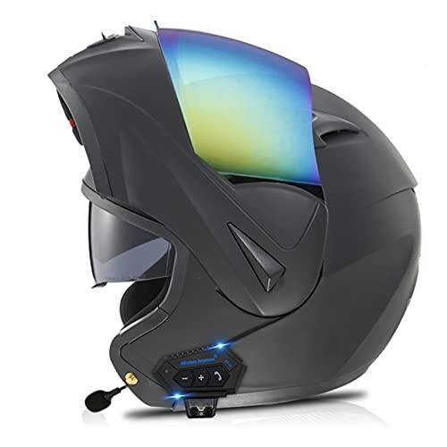 ZPTTBD Casco de Moto Modular Bluetooth Integrado con Micrófono Incorporado Anti Niebla Doble Visera ECE/Dot Homologado Cascos Moto Adultos Hombres Mujeres (Color : O, Size : (XL=61-62CM))