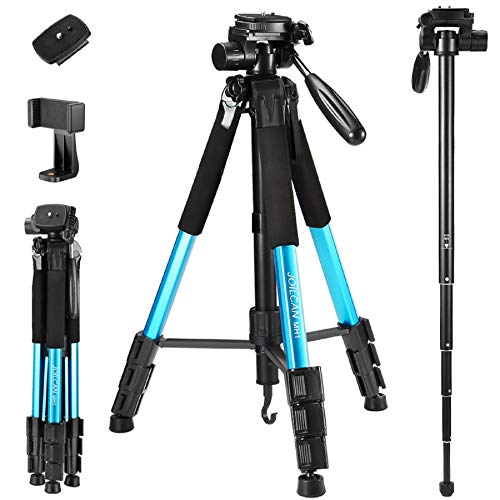 72-Inch Camera/Phone Tripod, Aluminum Tripod/Monopod Full Size for DSLR with 2 Quick Release Plates,Universal Phone Mount and Convenient Carrying Case Ideal for Travel and Work - MH1 Blue