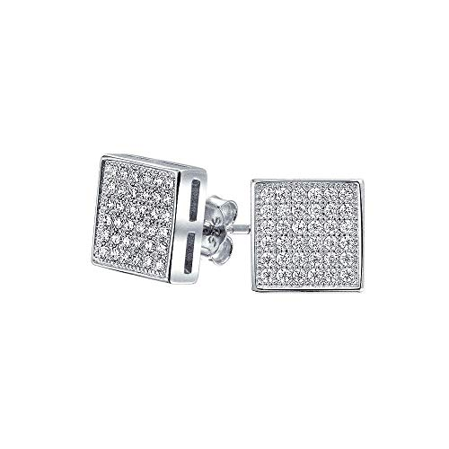 Geometric Square Shaped Cubic Zirconia Micro Pave CZ Stud Earrings For Men For Women 925 Sterling Silver 8MM