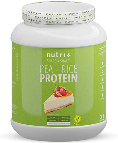 Pea Protein - Rice Protein Strawberry Cheesecake 1kg - Plant Based Drink with All Essential Amino acids - Vegan Pea-Rice Protein Powder Without Soy, Sugar, Lactose, Gluten