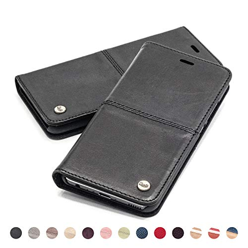 QIOTTI Hülle Kompatibel mit iPhone XS iPhone X Ledertasche aus Hochwertigem Leder RFID NFC Schutz mit Kartenfach Standfunktion (Smart Black)