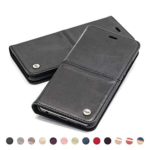 QIOTTI Hülle Kompatibel mit iPhone Se iPhone 5s iPhone 5 Ledertasche aus Hochwertigem Leder RFID NFC Schutz mit Kartenfach Standfunktion (Smart Black)