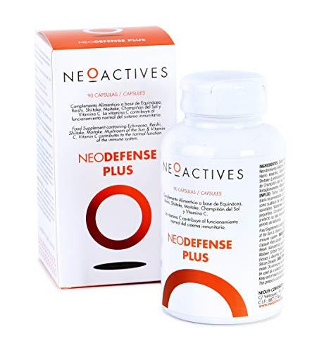 NeoDefense Plus | Suplemento con Equinácea (1.000 mg), Reishi, Shiitake, Maitake, Champiñón del Sol y Vitamina C | Protege contra resfriados refuerza tu sistema inmunitario (90)