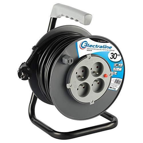 Electraline 20867017G Rallonge Prolongateur électrique 30 m avec enrouleur 4 Prises 16 A section 3G1,5 mm² Gris