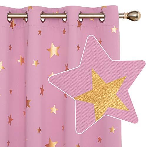 Deconovo Cortinas Dormitorio Moderno para Ventanas de Habitación Juvenil Diseño Estrellas Estampados Dorados con Ojales 2 Paneles 140 x 260 cm Rosa