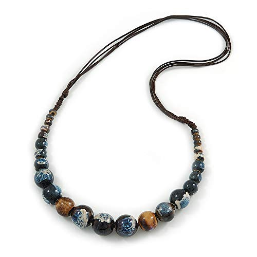 Avalaya Blue/White/Brown Ceramic Bead Brown Silk Cords Necklace - Adjustable - 60cm to 70cm Long