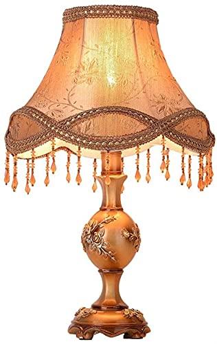 LATOO Lámpara de escritorio europeo retro marrón sombra tela borla lámpara colgante mesa luz resina verde noche lámpara cuerpo lámpara iluminación lámparas