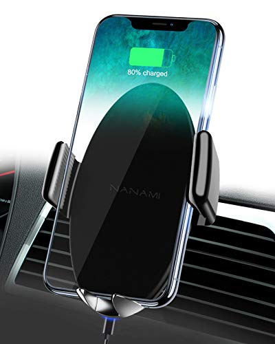 NANAMI Wireless Charger Auto,Qi Auto Handyhalterung Kabelloses Auto Ladegerät Lüftung Kfz Ladestation Induktive Autohalterung für iPhone 12/11/11Pro/XS/XR/8Plus,Samsung Galaxy S20 S10 S9 S8, Note 10/9