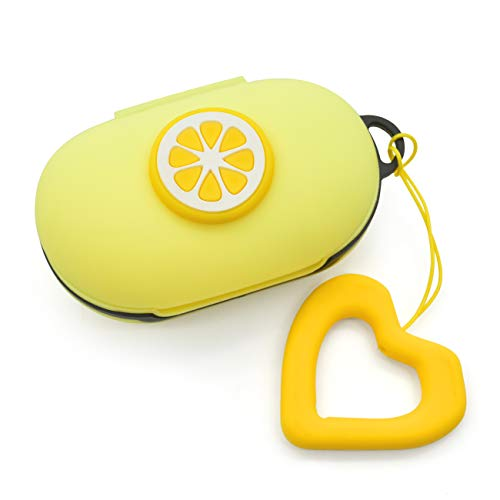 Newseego Compatible with Galaxy Buds(2019) Case, Galaxy Buds+ Plus (2020) Cover Cute 3D Soft Case with Ring Buckle Keychain Galaxy Buds Case-Lemon