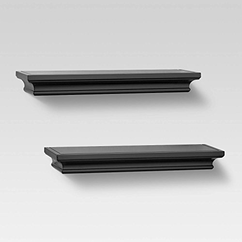 2pc Traditional Wall Shelf Set Black - Threshold™