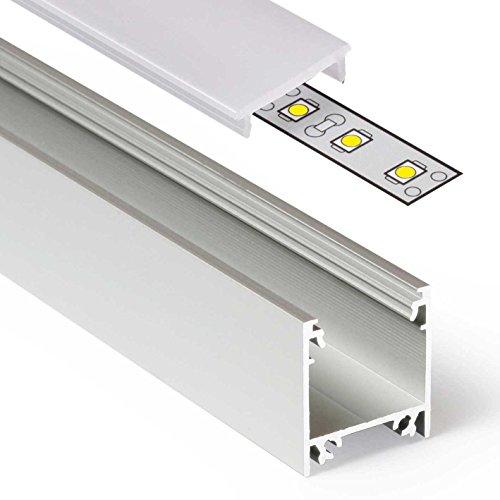 2m Aluprofil LINEA (LI) 2 Meter Aluminium Profil-Leiste eloxiert für LED Streifen - Set inkl Abdeckung-Schiene milchig-weiß opal mit Montage-Klammern und Endkappen (2 Meter milchig click)