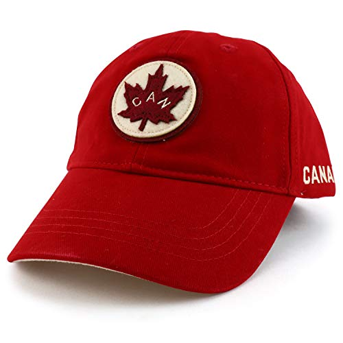 Armycrew Canada Maple Leaf Felt Logo Embroidered Brushed Cotton Ball Cap - Heritage Red