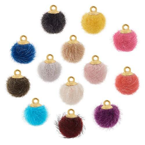 PandaHall 130 piezas de 13 colores pompones pendientes de tela de piel metálica pompones dijes de bolas esponjosas para colgar pendientes de borla, colgante de joyería