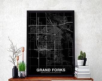 MG global GRAND FORKS North Dakota ND Usa Map Poster Black White Hometown City Print Modern Home Decor Office Decoration Wall Art Dorm Bedroom Gift Unframed Wall Art