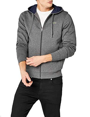 Lacoste Sport Herren Sh7609 Sweatshirt, Grau (Bitume/Marine), Medium (Herstellergröße: 4)