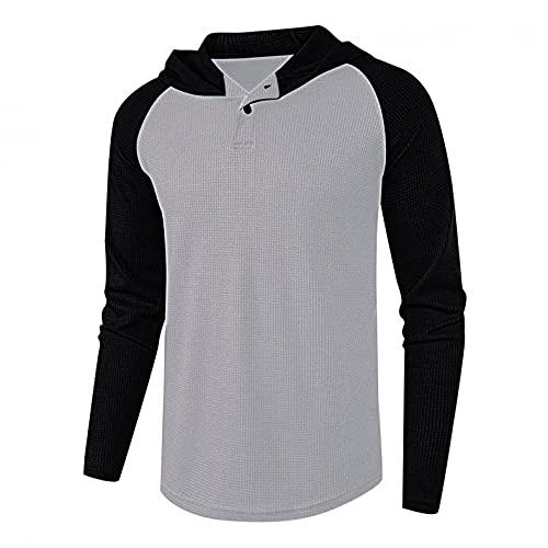 Sheey Algodón Camiseta Termica Hombre Camiseta Manga Larga Hombre Camiseta Running Hombre Camiseta Deporte Hombre Futbol Interior Básica Casual con Botones Camisa Trabajo Ropa Otoño Invierno
