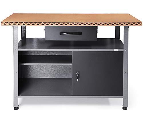 Ondis24 Montagewerkbank Werkbank Klaus Eco 120 cm, patentierte Leichtbau Holz Arbeitsplatte aus Deutschland, Metall, abschließbarer Tür, höhenverstellbare Füße (Arbeitshöhe 85 cm, Schwarz)