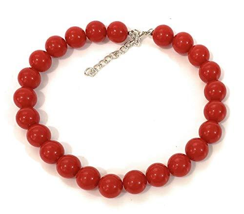 Caprilite - Collana girocollo con perle sintetiche extra grandi, da 18 mm, accessorio in stile vintage per non passare inosservati, colore: rosso