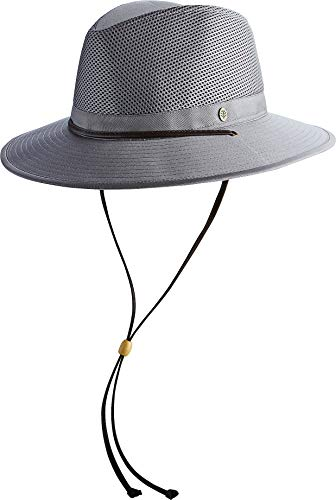 Coolibar UPF 50+ Men's Kaden Crushable Ventilated Hat - Sun Protective (Large/X-Large- Smoke Grey)