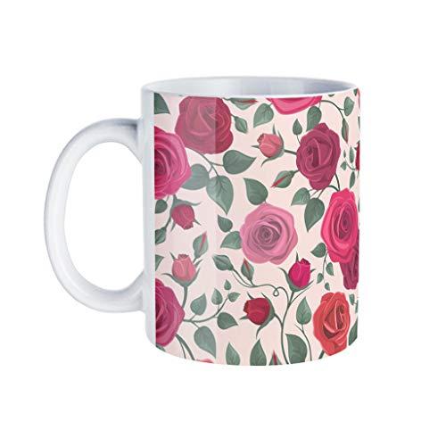 KittyliNO5 Taza de café con diseño de rosas rojas, de porcelana, divertida, idea de regalo para cumpleaños, color blanco, talla única