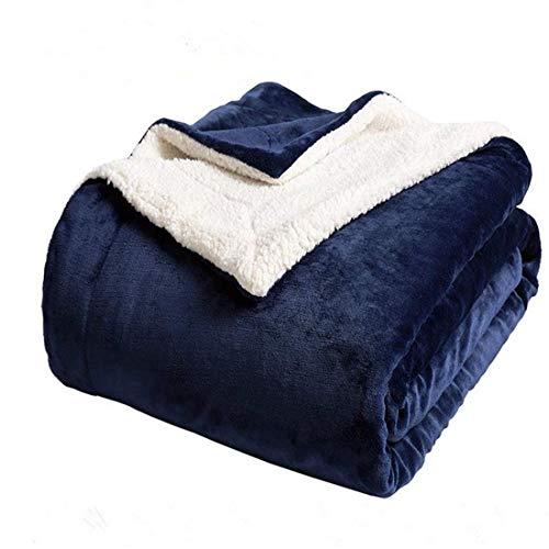 N / A Superweiche Lammwolldecke Warme und Bequeme Wolldecke, perfekte Dekoration für Sofa und Bett (Blau, 160x200)