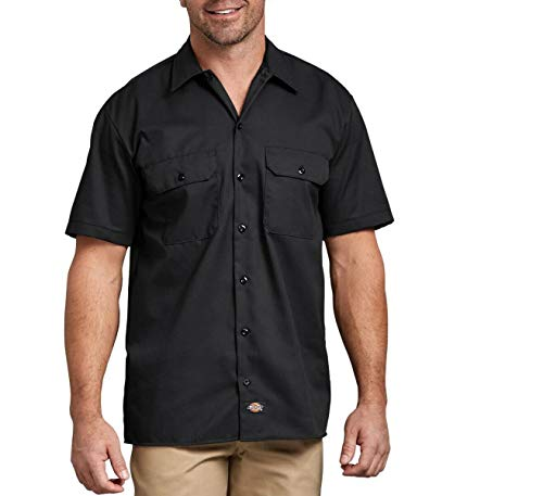 Dickies Men's Flex Short-Sleeve Twill Work Shirt (Black, Large)