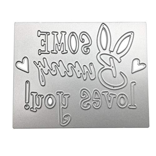 S-TROUBLE Carbon Steel Cute Cartoon Rabbit Words Cutting Die Embossing Stencil Templates Mold Paper DIY Art Craft Scrapbook Bookmark Card Decor