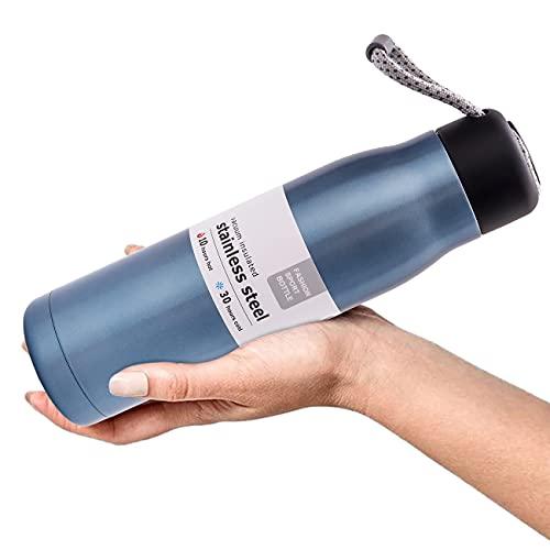 Botella isotérmica de acero inoxidable antifugas, reutilizable, doble pared, 550 ml, termo con eslinga, botellas calientes/frías sin BPA, portátil, para senderismo, escuela, oficina
