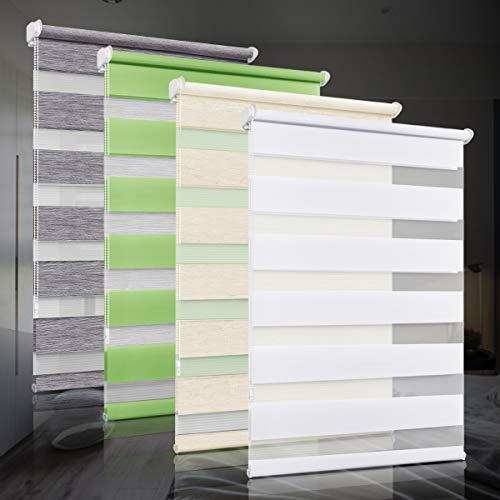 bobodeco Doppelrollo klemmfix ohne Bohren Duo Rollos für Fenster mit Klemmträger, Fensterrollo lichtdurchlässig & verdunkelnd Wandmontage Sichtschutz- Weiß,80x120cm (BxH)