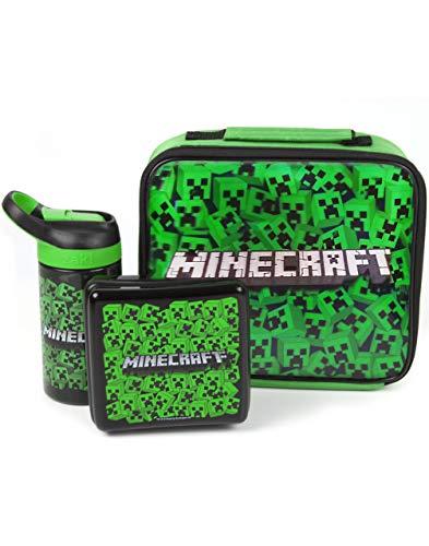 Minecraft bolsa de almuerzo Conjunto (Fiambrera, Botella de agua, Snack-Pot)