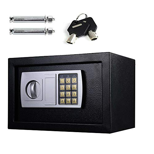 Fireproof 8.5L Electronic Password Security Safe Money Cash Deposit Box Office Home Safe Password Key Anti-theft Safe Box Wall Mounted Home Safety Security Lock Boxes 4.8KG