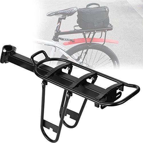 Portaequipajes Bicicletas,Portabicicletas Trasero Aluminio,Portaequipajes Tija Sillín Ciclismo Liberación Rápida Capacidad Carga Máxima 20 Kg para Tijas De Sillín Redondas De Menos De 33 Mm