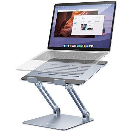 AboveTEK Laptop Stand, Adjustable Laptop Riser, Aluminum Computer Stand for Laptop up to 17.3 Inches, Portable Laptop Holder Compatible with MacBook Pro, HP, Ergonomic Desktop for Office, Home, Grey